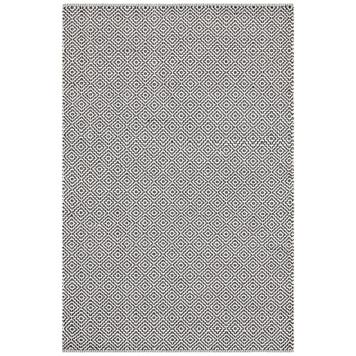Network Rugs Khyber Black & White Soft Cotton Hand Loomed Rug