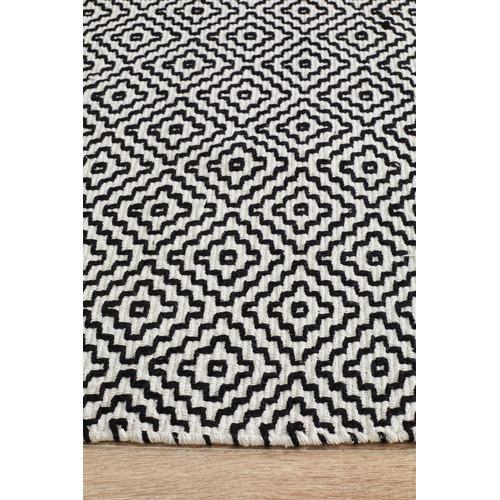 Network Rugs Khyber Black & White Soft Cotton Hand Loomed Rug