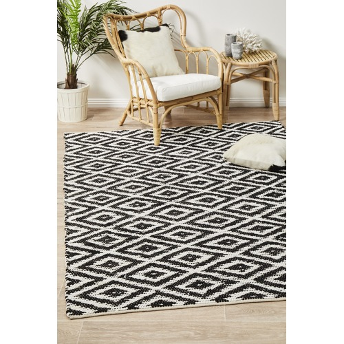 Network Rugs Markandi Black & White Cotton Hand Loomed Rug