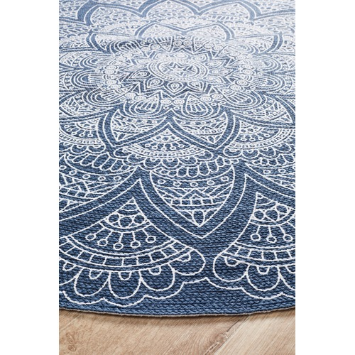 Network Rugs Blue Coastal Hand Braided Cotton Rug