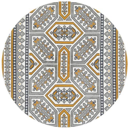 Gold & White Retro Hand Braided Cotton Rug