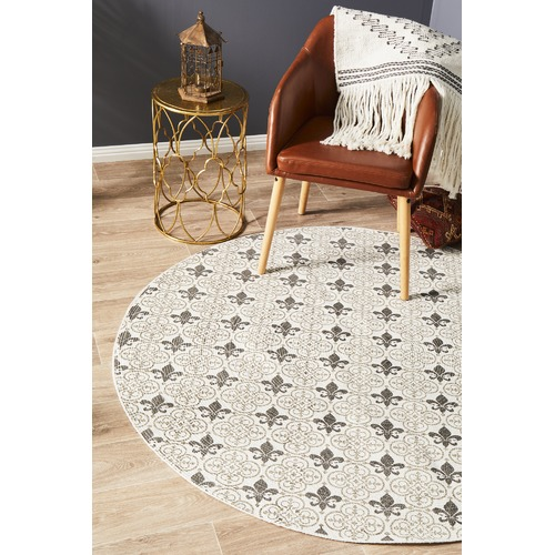 Network Rugs Silver Fleur de Lys Hand Braided Cotton Rug