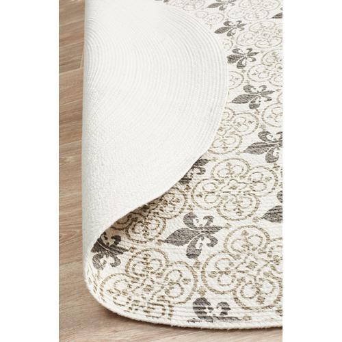 Silver Fleur de Lys Hand Braided Cotton Rug