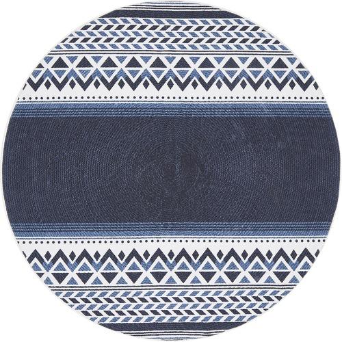Navy Naval Hand Braided Cotton Rug