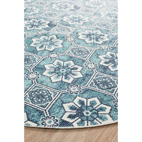 Sky Blue Blooming Hand Braided Cotton Rug