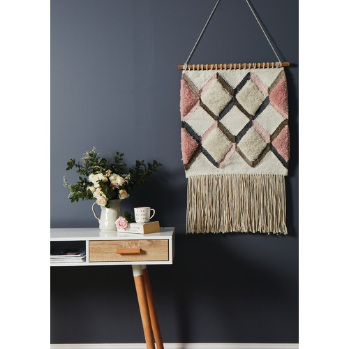 Network Rugs Pink Scandi Textured Fringed Wall Hanging