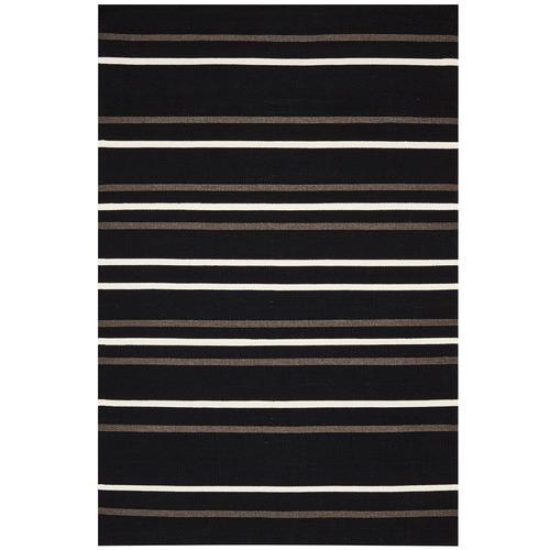 Network Rugs Oslo Stripe Flat Weave Wool Rug Black