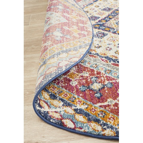 Multi-coloured Red Diamond Vintage Look Round Rug