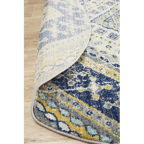 Navy & Ivory Diamond Vintage Look Round Rug