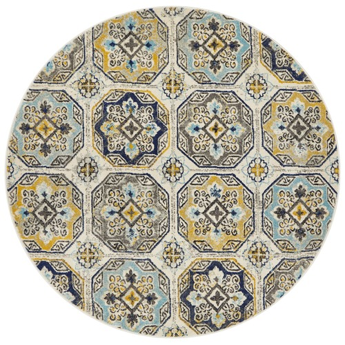 Blue & Yellow Garden Circle Vintage Look Round Rug