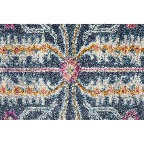 Network Rugs Navy Wreath Vintage Look Rug