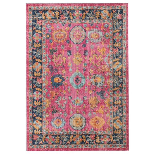 Network Rugs Pink Vintage Look Power Loomed Cotton Blend Rug