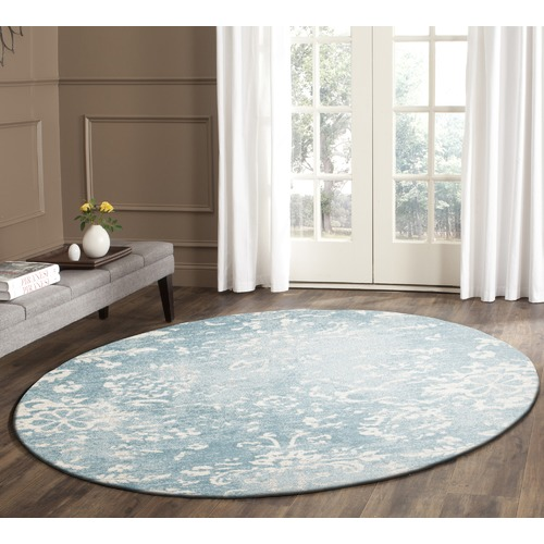 Network Rugs Blue Vintage Look Power Loomed Round Rug