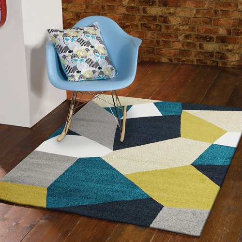 Network Rugs Blue Geometric Power Loomed Rug