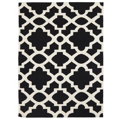 Flat Weave Trellis Design Black White Rug