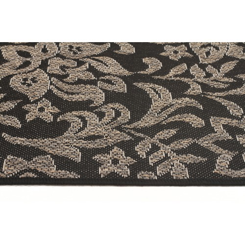 Network Rugs Black Floral Flat Woven Rug