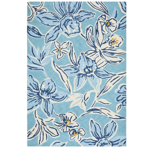Antoinette Blue Yellow Hand Tufted Recycled Pet Outdoor Rug