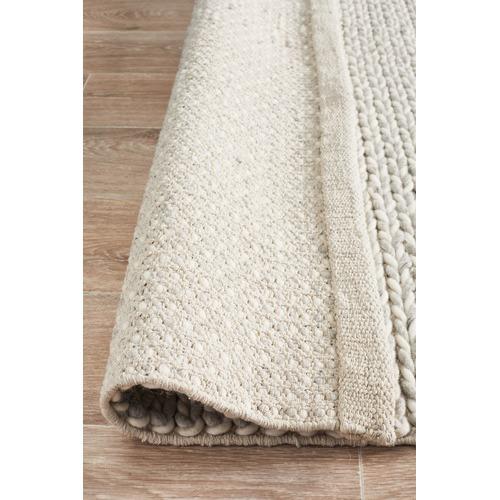 Network Rugs Caterina Grey Hand Woven Sumac Weave Wool & Viscose Rug