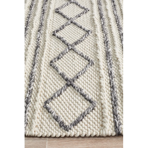 Network Rugs Emilee Natural White Hand Woven Flatweave Wool & Viscose Rug