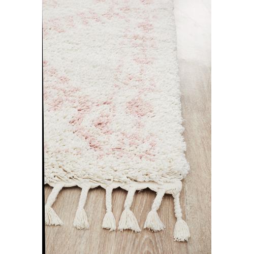 Network Rugs Ivory & Pink Rabia Fringed Tribal-Style Rug