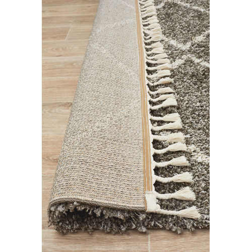 Network Rugs Pebble Grey Buchra Fringed Rug