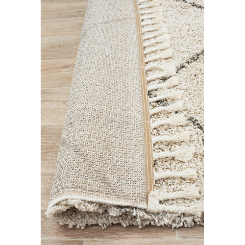 Network Rugs Natural Tan & Brown Nahla Fringed Rug