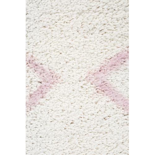 Network Rugs Ivory & Pink Buchra Fringed Rug