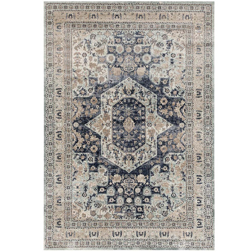 Network Rugs Mitzi Navy, Blue & Cream Chenille Cotton Modern Rug