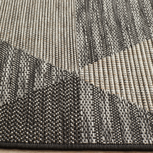 Network Rugs Black & Natural Triangles Flat Woven Rug