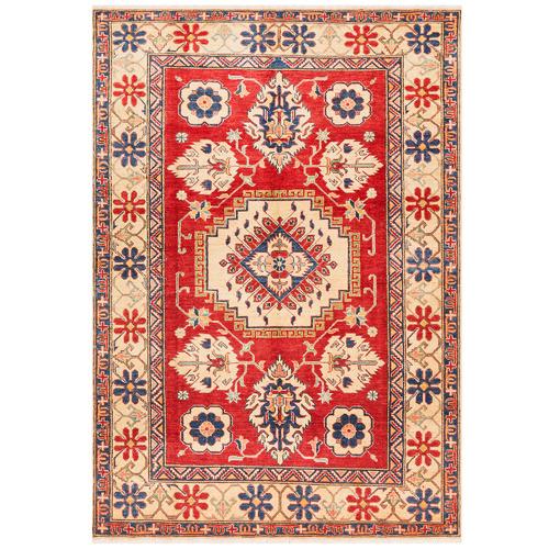 Network Rugs Red & Cream Wool Kazak Rug