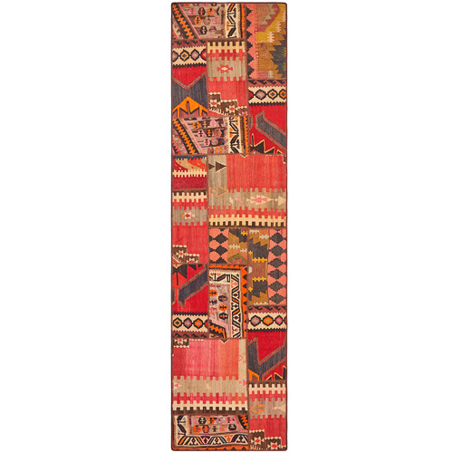 Network Rugs Multi-Coloured Abstract Wool Persian Patchwork Rug