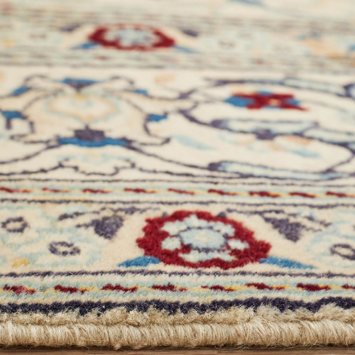 Network Rugs Cream & Blue Wool Persian Naen Rug
