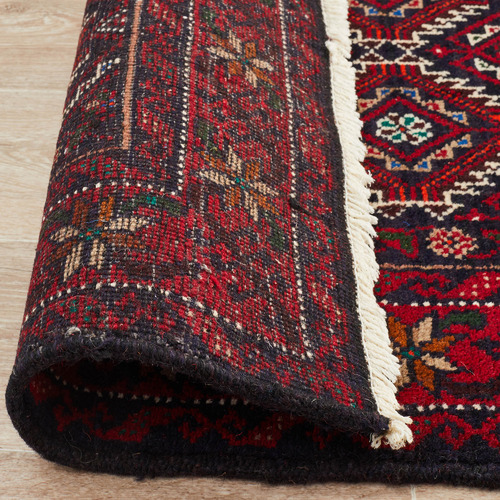 Network Rugs Ikat Hand-Knotted Wool Balouchi Rug