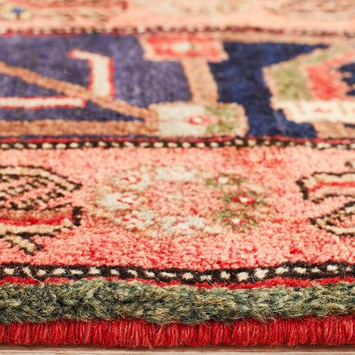 Network Rugs Rose & Navy Wool Persian Hamadan Rug