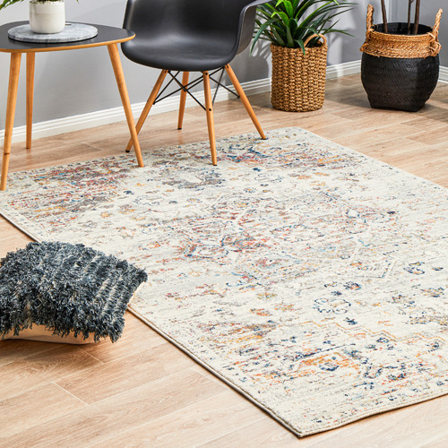 Network Rugs Cream Transitional Distressed Rug