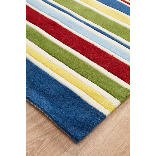 Network Rugs Curious Owl Primary Stripes Kid's Rug