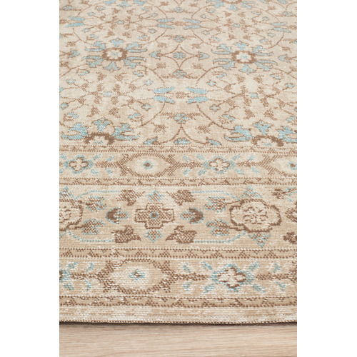 Network Rugs Bone & Blue Power Loomed Distressed Modern Rug