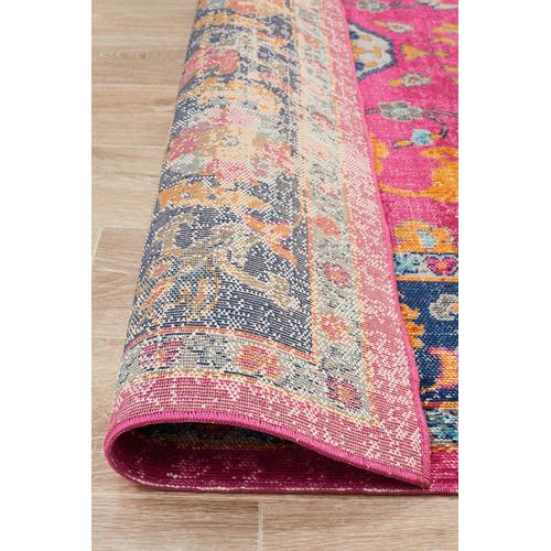Network Rugs Pink Vintage Look Power Loomed Cotton Blend Rug