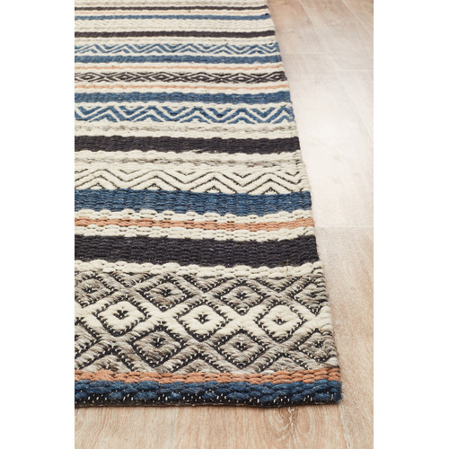 Network Rugs Pat Denim, Grey & Copper Hand Loomed Rug