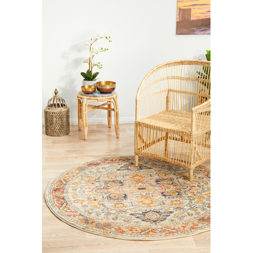 Network Rugs Rust Power-Loomed Transitional  Round Rug
