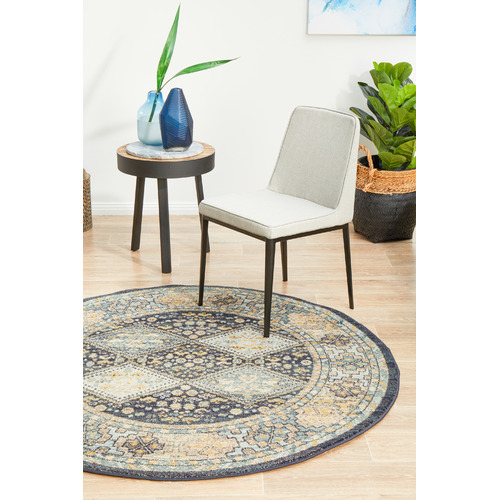 Network Rugs Navy & Sky Blue Power-Loomed Transitional Round Rug