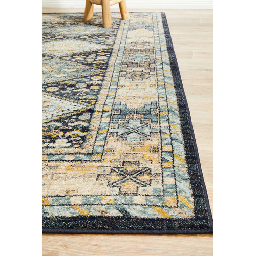 Network Rugs Navy & Sky Blue Power-Loomed Transitional Rug