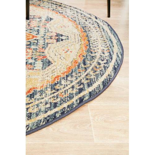 Network Rugs Rust & Beige Power-Loomed Transitional Round Rug