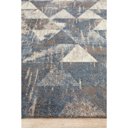 Network Rugs Faded Triangle Blue Digital Print Rug