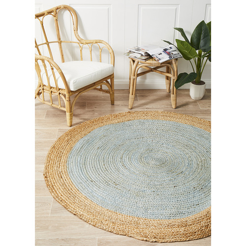 Network Rugs Jute Natural Blue Rug