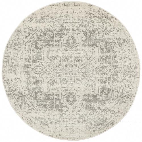 Network Rugs Bone, White & Silver Round Art Moderne Cezanne Rug