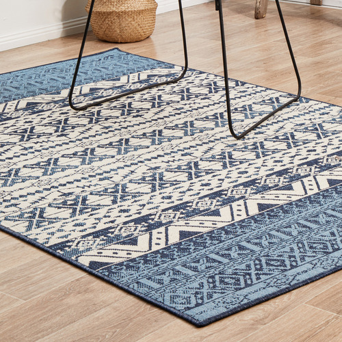 Network Rugs Blue & White Tribal Power-Loomed Outdoor Rug