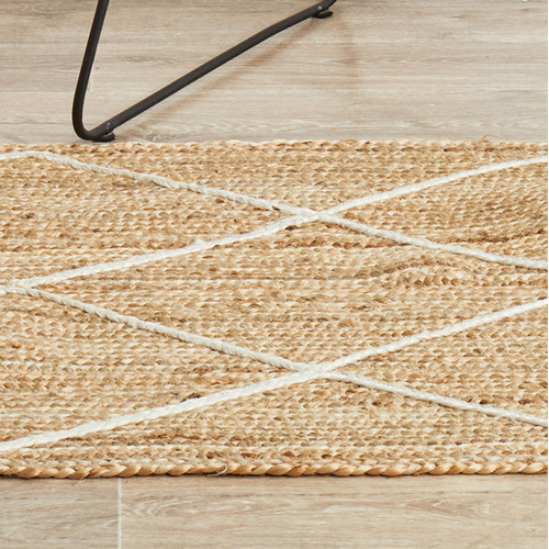 Network Rugs Natural & White Geometric Hand-Braided Jute Runner