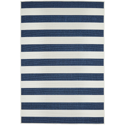 Navy & White Striped Power-Loomed Outdoor Rug