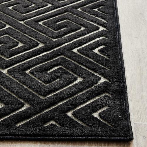 Network Rugs Black Geometric Power-Loomed Textured Runner